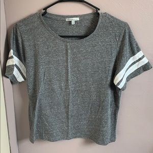 Gray with White Stripes Top